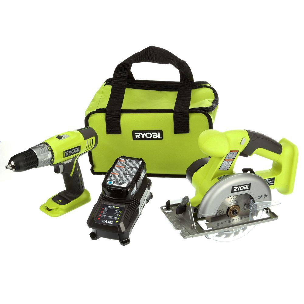 ryobi 18 volt one lithium ion starter combo kit 2 tool p825 the home depot. Black Bedroom Furniture Sets. Home Design Ideas