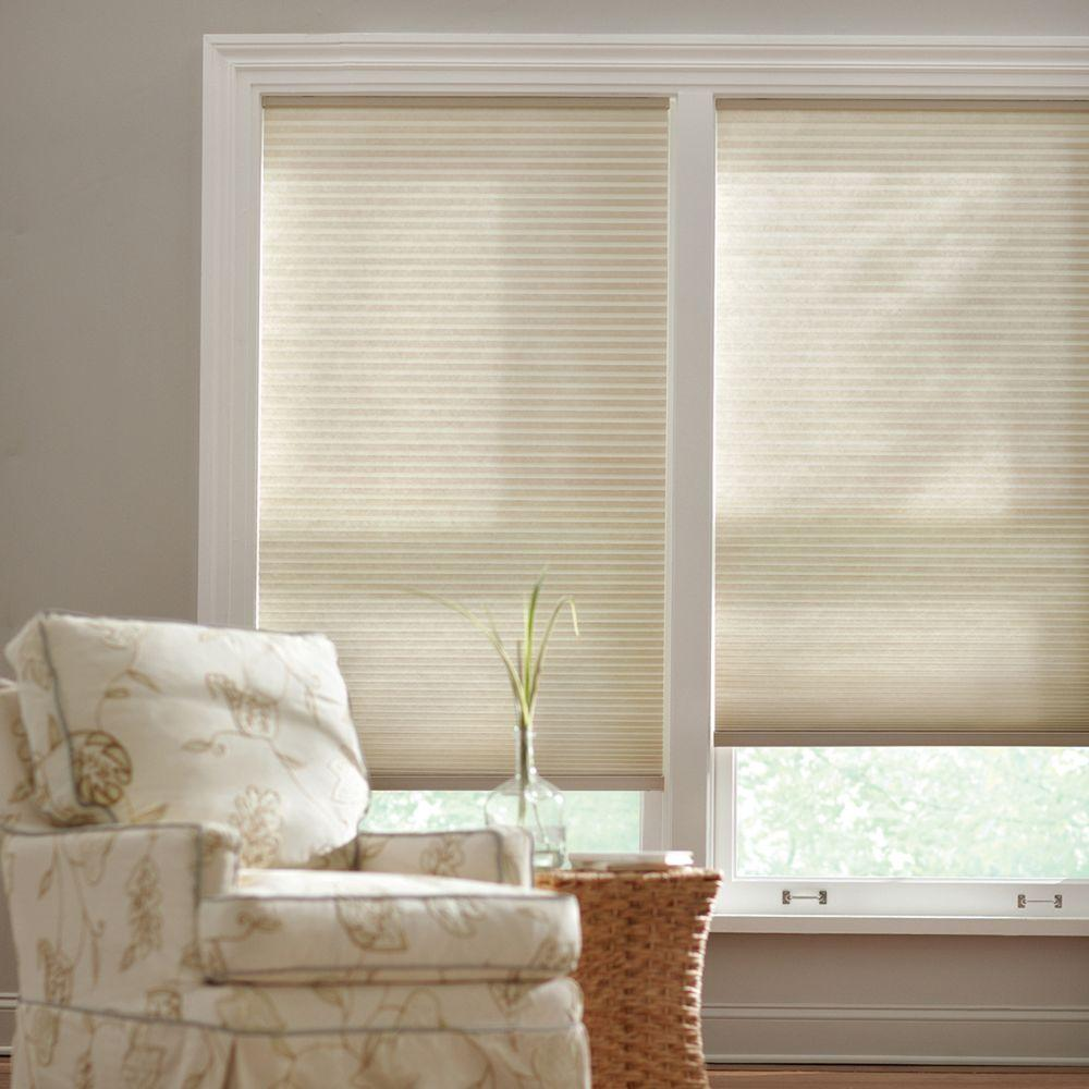 Home Decorators Collection Parchment 9 16 In Cordless Light Filtering Cellular Shade 23 In W