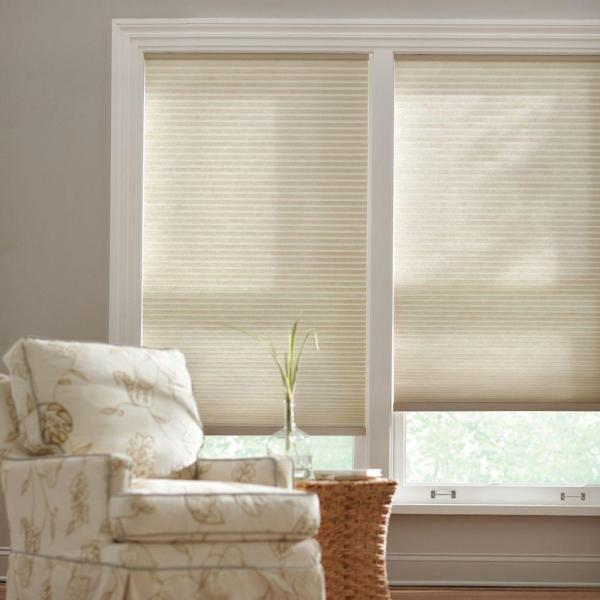 Parchment 9/16 in. Cordless Light Filtering Cellular Shade - 66 in. W x 48 in. L (Actual Size 65.625 in. W x 48 in. L)