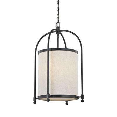 5-Light Oil-Rubbed Bronze Cylinder Pendant with Beige Linen Shade