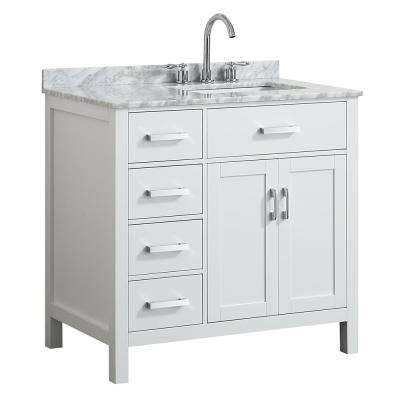 Hampton 37 in. W x 22 in. D Bath Vanity in White with Marble Vanity Top in White with White Basin