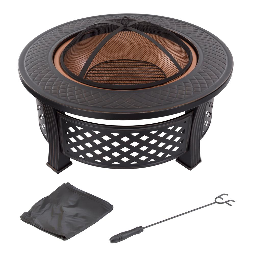 32 in. Steel Round Fire Pit with Spark Screen and Log