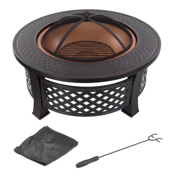 32 in. Steel Round Fire Pit with Spark Screen and Log Poker