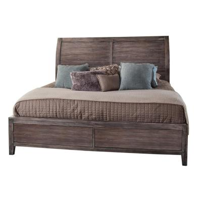 Aurora Weathered Gray Queen Sleigh Bed (No Storage)