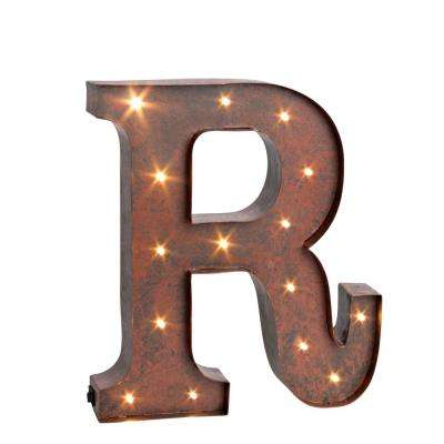 "12 in. H ""R"" Rustic Brown Metal LED Lighted Letter"
