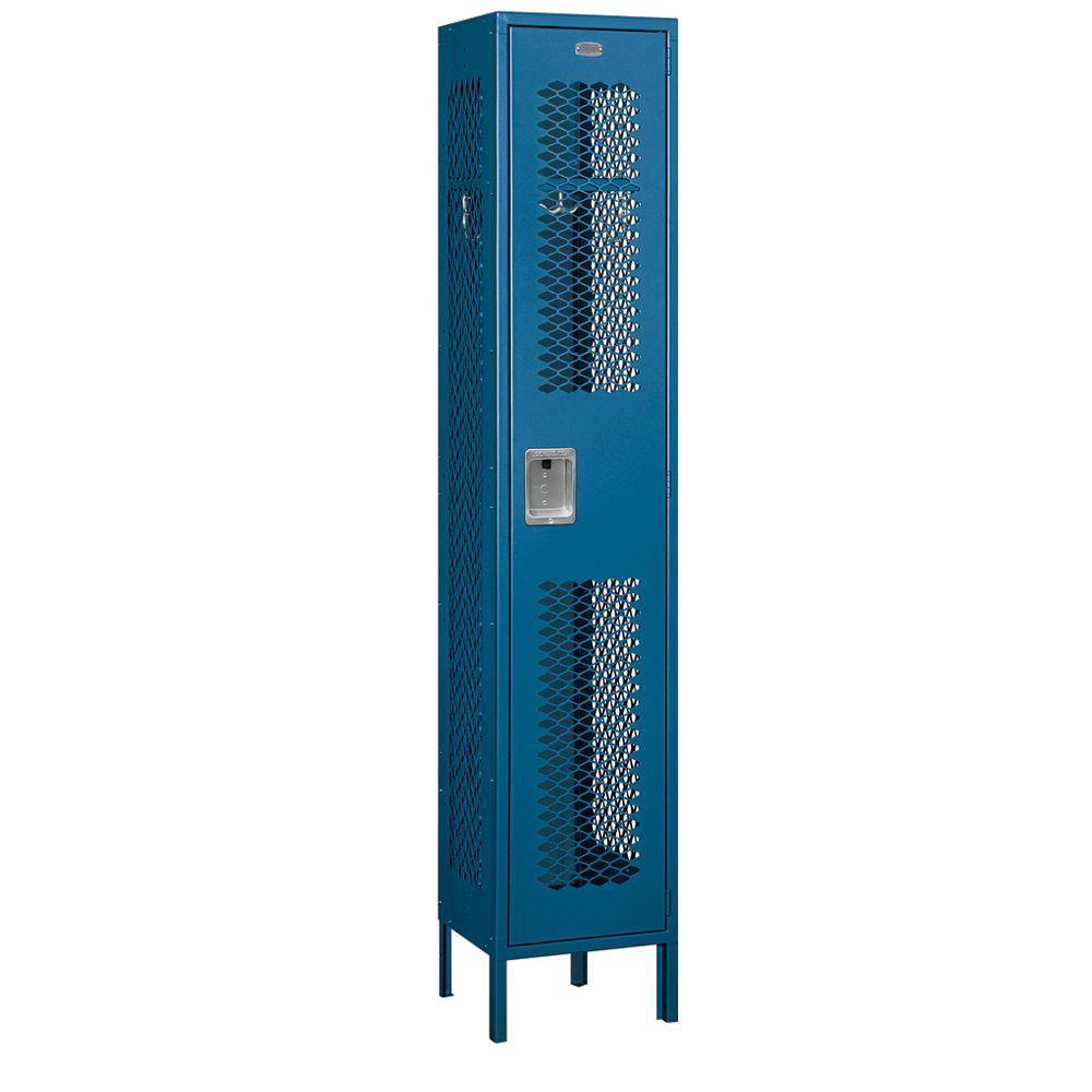 Salsbury Industries 81000 Series 15 in. W x 78 in. H x 15 in. D Single Tier Extra Wide Vented Metal Locker Assembled in Blue