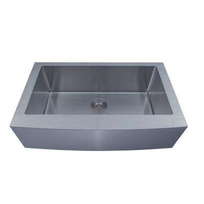 Loft Farmhouse Stainless Steel 33 in. Single Bowl Kitchen Sink with Grid and Strainer