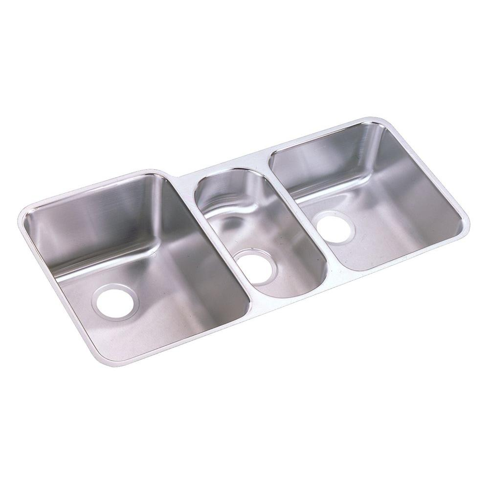 Elkay Lustertone Undermount Stainless Steel 40 in. Triple Bowl Kitchen Sink