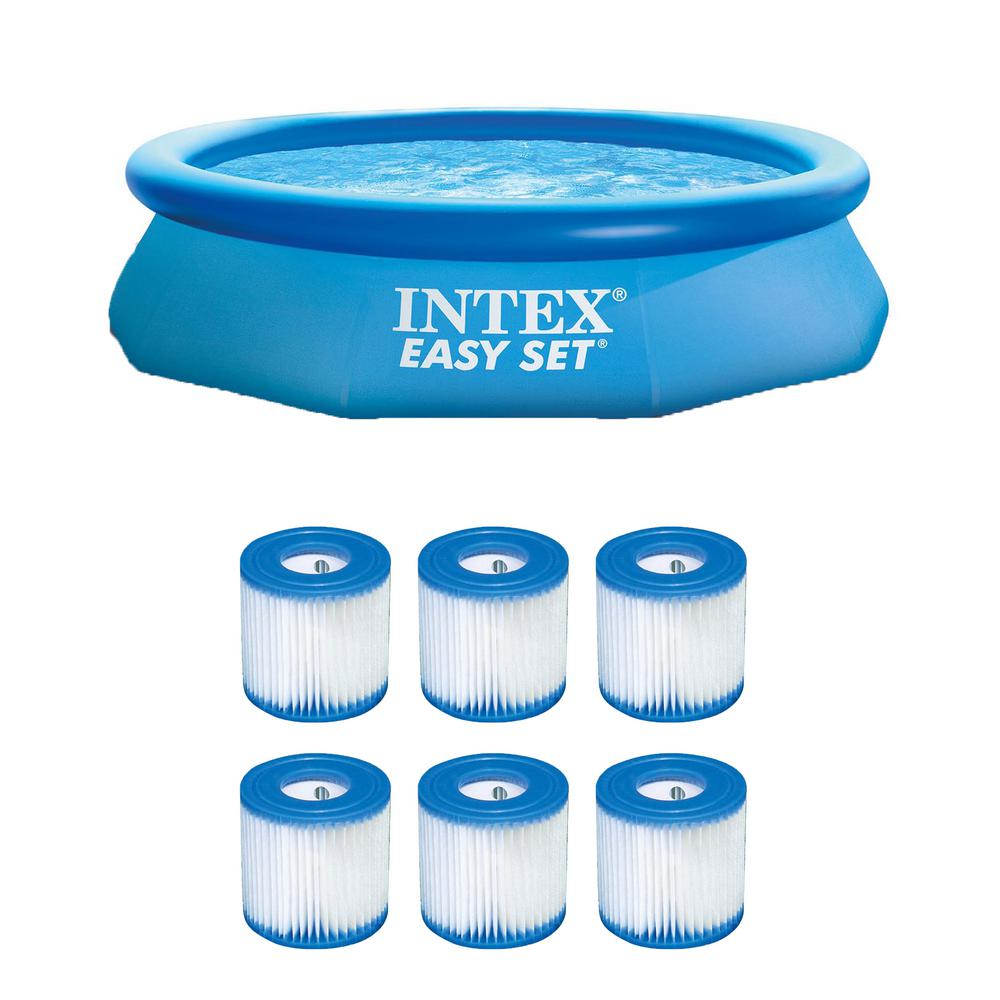 Intex Swimming Pool Easy Set Filter Cartridge Replacement Type H 29007E 6-Pack