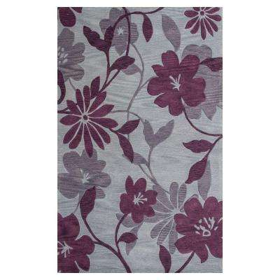 Summer Rays Grey/Plum 3 ft. x 5 ft. Area Rug