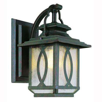1-Light Burnished Rust Outdoor Coach Wall Lantern with Seeded Glass