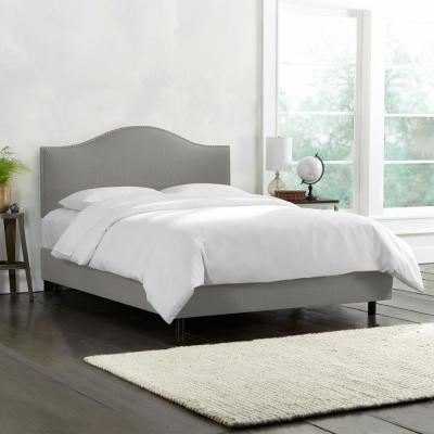 Lily Linen Grey King Bed with Pewter Nail Buttons