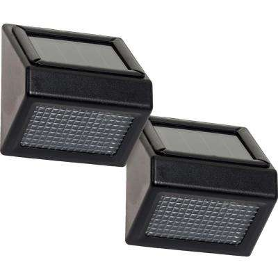 Solar Powered Black Outdoor Integrated LED Stair Flood Light (2-Pack)