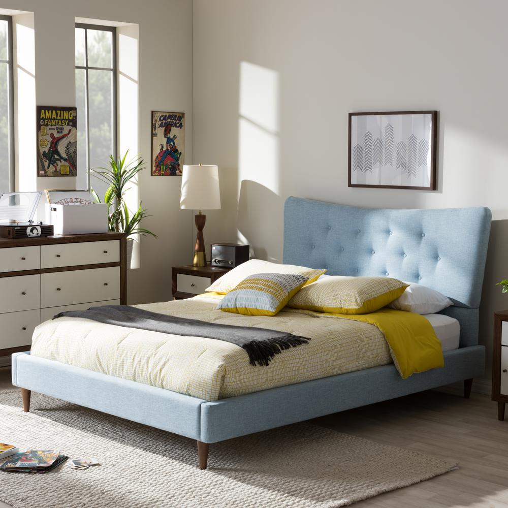 Baxton Studio Hannah Blue Queen Upholstered Bed 28862 7007