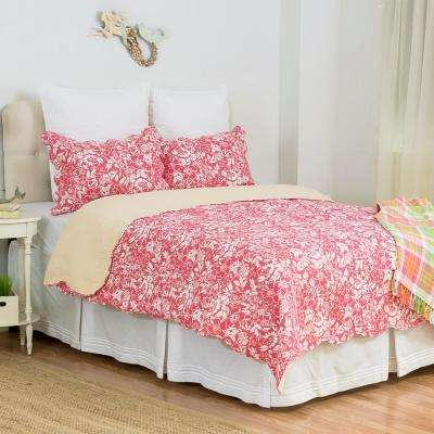 Red Aruba Breeze King Quilt Set