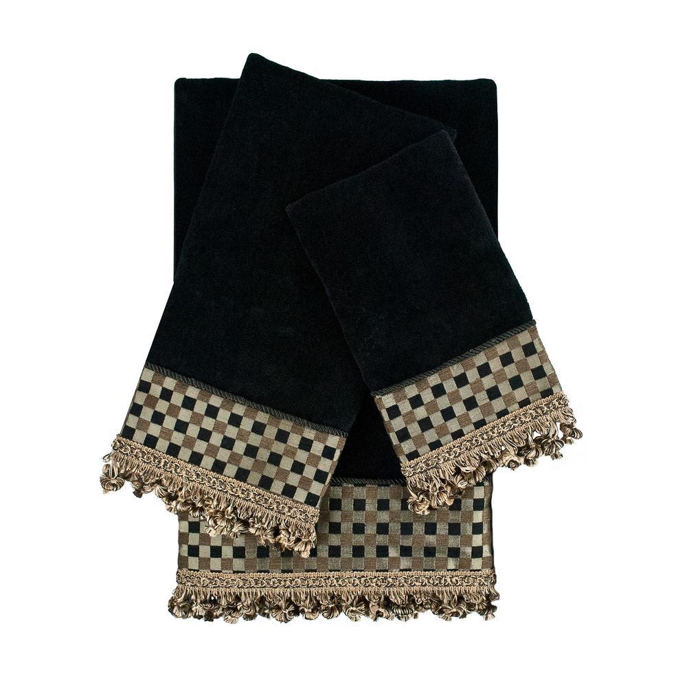 Linden Black Embellished Towel Set (3-Piece)