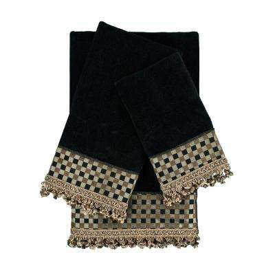 Linden Black Embellished Towel Set (3-Piece)