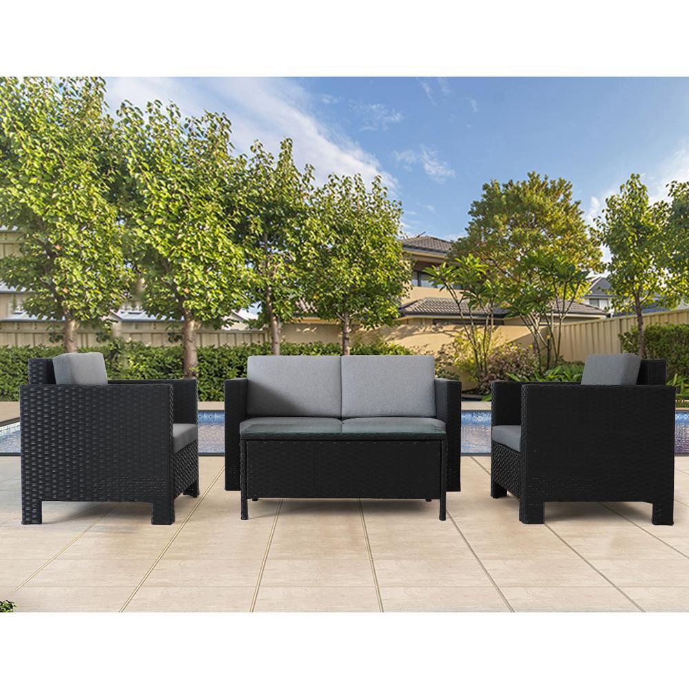 Black 4-Piece  Wicker Outdoor Patio Rattan Conversation Seating Set with CushionGuard Gray Foam Cushion