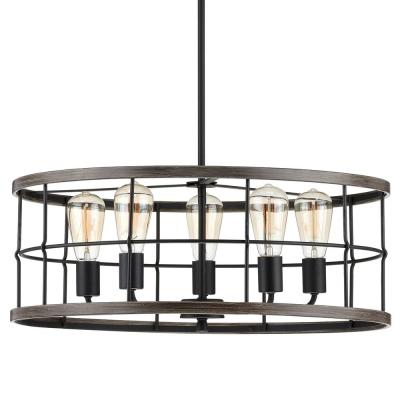 Fairforest 5-Light Matte Black with Aged Oak Accents Chandelier