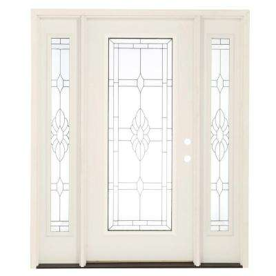 67.5 in. x 81.625 in. Sapphire Patina Full Lite Unfinished Smooth Left-Hand Fiberglass Prehung Front Door with Sidelites