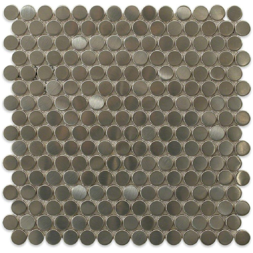 Splashback Tile Silver Penny Round 12 In X 8 Mm Stainless