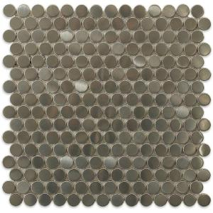 Splashback Tile Silver Penny Round 12 In X 8 Mm Stainless Steel Metal Floor And Wall The Home