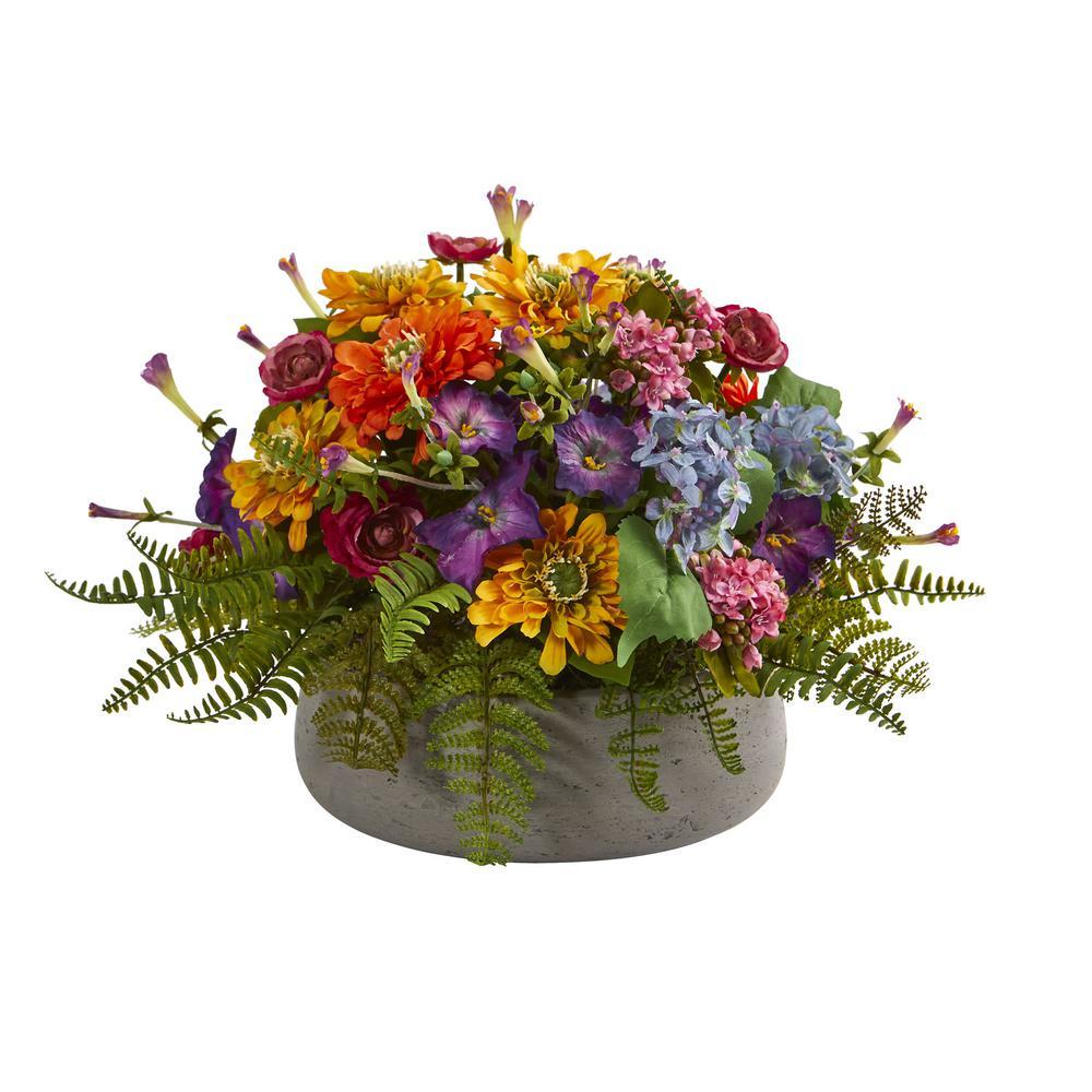 Indoor Mixed Floral Artificial Arrangement in Stone Planter