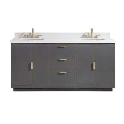Austen 73 in. W x 22 in. D Bath Vanity in Gray with Gold Trim with Quartz Vanity Top in White with Basins