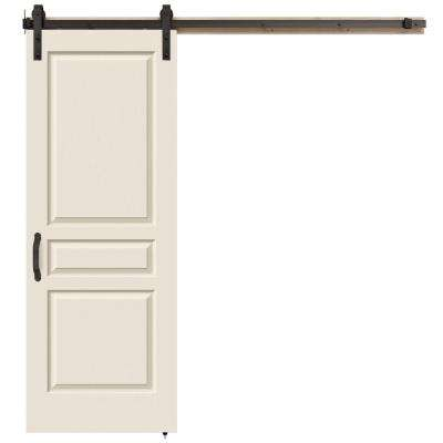 30 in. x 84 in. Avalon Primed Smooth Molded Composite MDF Barn Door with Rustic Hardware Kit
