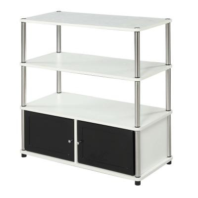 Designs2Go 34.50 in. W White and Black Highboy Entertainment Center