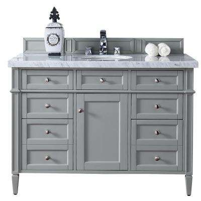 Brittany 48 in. W Single Vanity in Urban Gray with Marble Vanity Top in Carrara White with White Basin