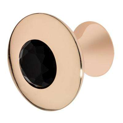 Felicia 1-1/4 in. Rose Gold with Black Crystal Cabinet Knob