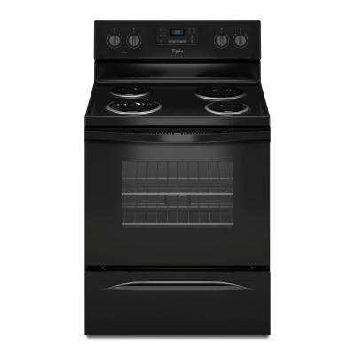 30 in. 4.8 cu. ft. Electric Range with Self-Cleaning Oven in Black