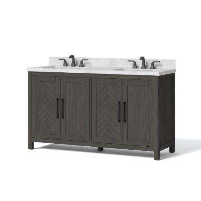 60 in. W x 34.5 in. H Bath Vanity in Dark Brown with Engineered Stone Vanity Top in White with White Basin