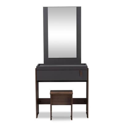 NewRikke 2 Piece Gray And Walnut Bedroom Vanity Set