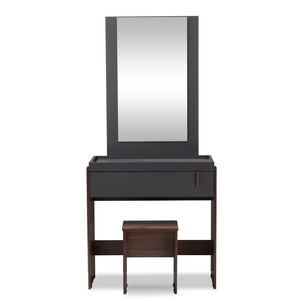 Rikke 2-Piece Gray and Walnut Bedroom Vanity Set