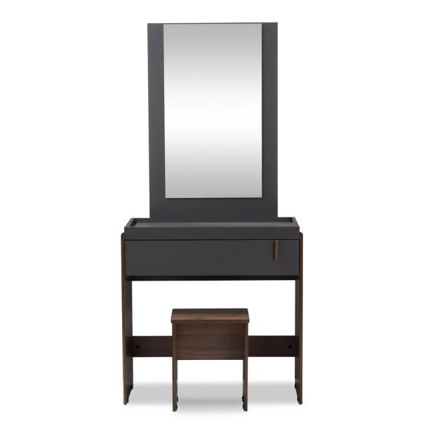 Baxton Studio Rikke 2-Piece Gray and Walnut Bedroom Vanity Set 152-9148-HD