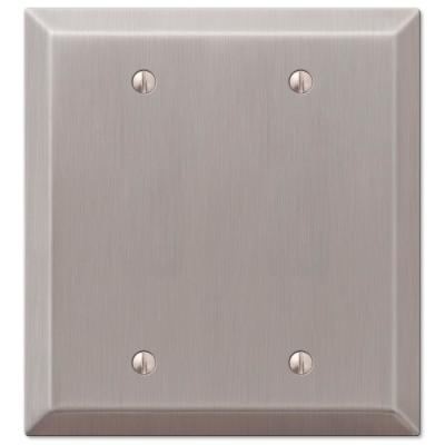 Metallic 2 Gang Blank Steel Wall Plate - Brushed Nickel