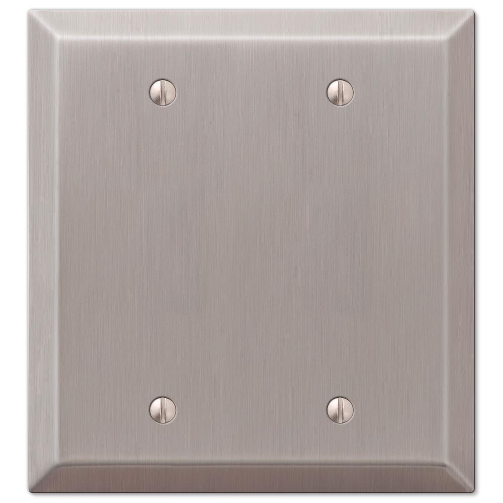 Metallic 2 Gang Blank Steel Wall Plate - Brushed Nickel
