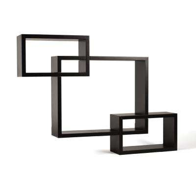 15.4 in. x 3.9 in. Espresso Interlocking Shelves (Set of 3)