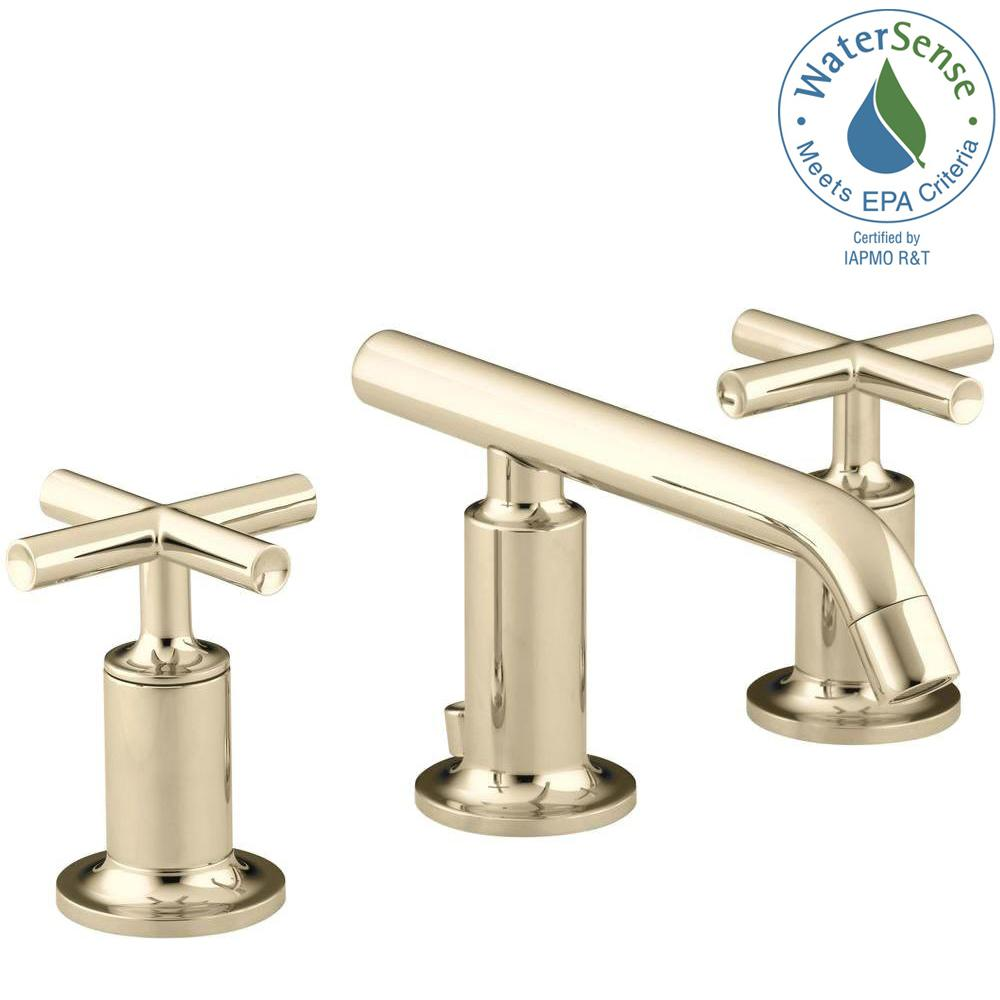 Kohler Purist 8 In Widespread 2 Handle Low Arc Bathroom Faucet In Vibrant French Gold With Low