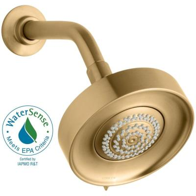 Purist Multifunction 3-Spray 5.5 in. Single Wall Mount Low Flow Fixed Shower Head in Vibrant Moderne Brushed Gold