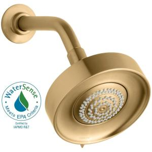Purist Multifunction 3-Spray 5.5 in. Raincan Showerhead in Vibrant Moderne Brushed Gold