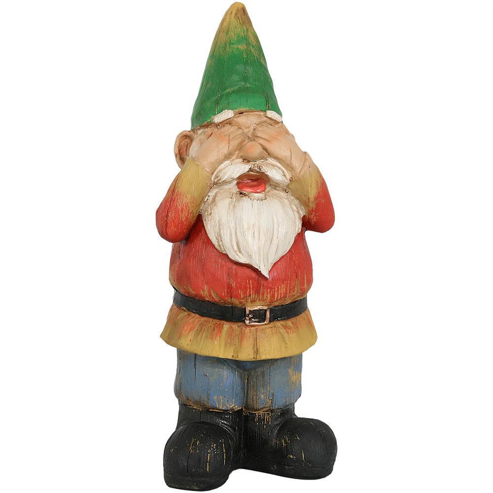 12 in. Steven Sees No Evil Gnome Garden Statue and Lawn Ornament