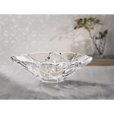 Petals 13.4 in. Crystal Decorative Bowl in Clear