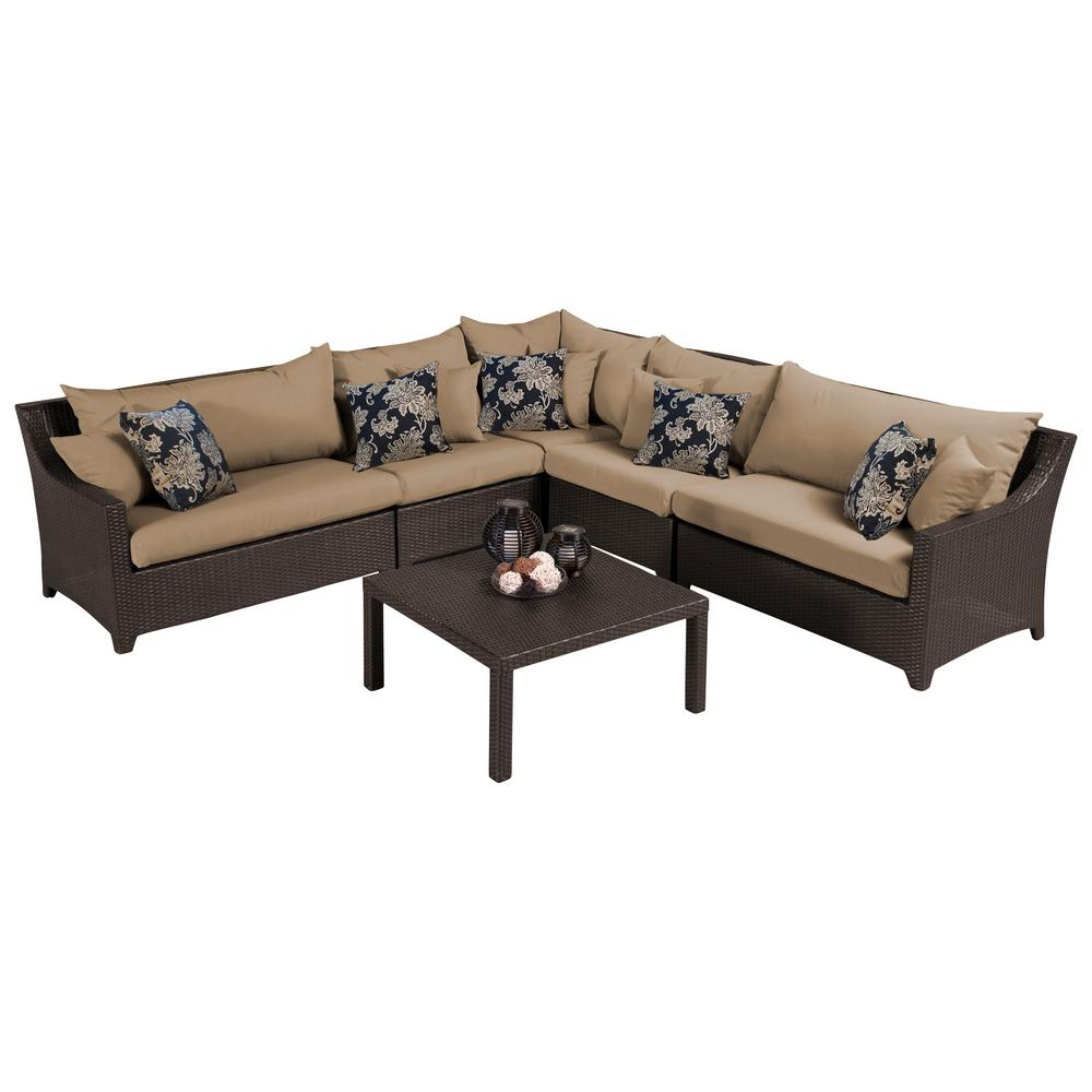 RST Brands Deco 6-Piece Wicker Patio Sectional Seating Set with Delano Beige Cushions