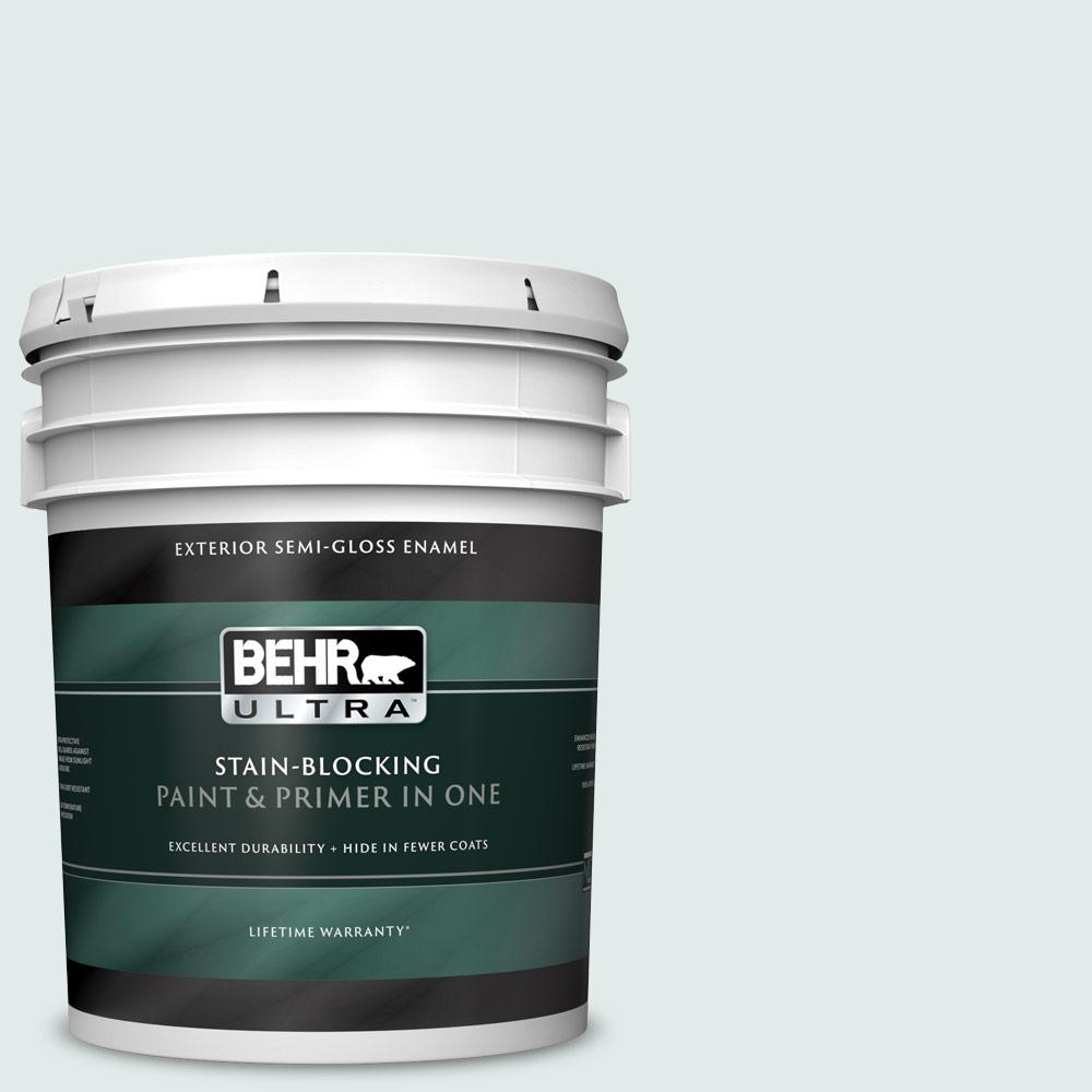 Behr Ultra 5 Gal W D 520 Clear View Semi Gloss Enamel Exterior Paint And Primer In One 585005 The Home Depot