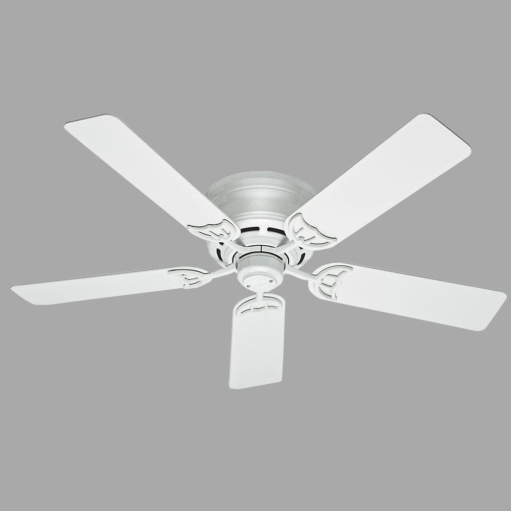 Hunter low profile iii 52 in indoor white ceiling fan 53069 the hunter low profile iii 52 in indoor white ceiling fan aloadofball Image collections