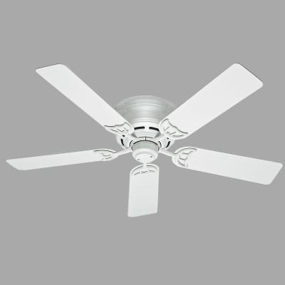 Low Profile III 52 in. Indoor White Ceiling Fan Bundled with Hunter Handheld Remote Control