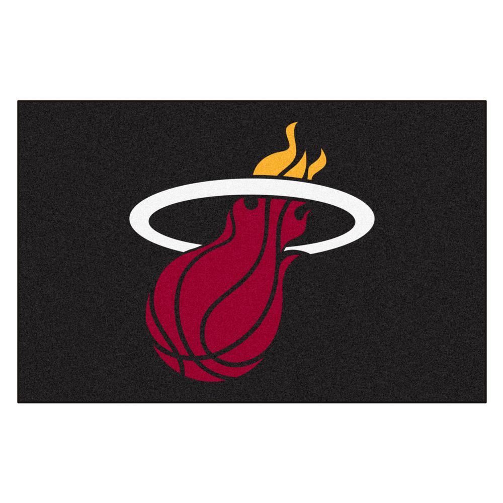 NBA Miami Heat Black 2 ft. x 3 ft. Area Rug
